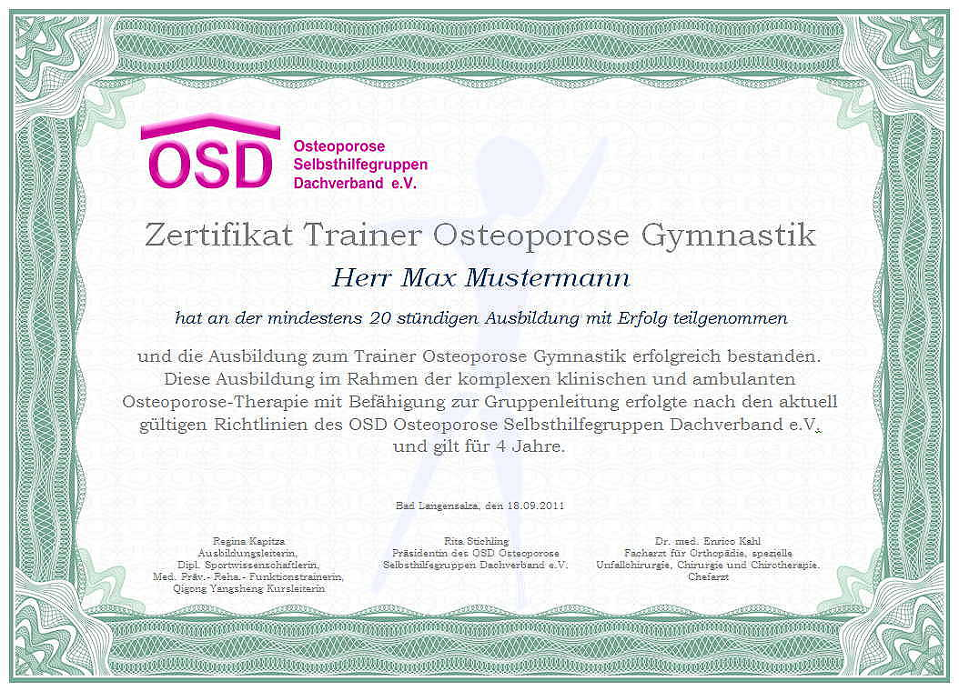 physiotherapie zertifikat trainer